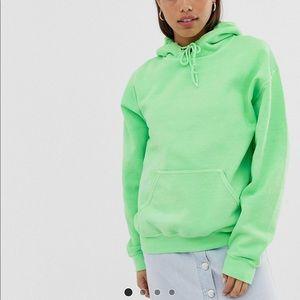 Reclaimed Vintage Overdye hoodie bright green